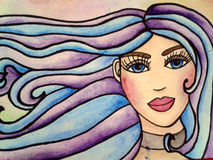 Portrait of girl watercolor illustration Stock Image