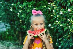 Portrait of a girl with a watermelon in nature. The child holds a piece of watermelon in his hands royalty free stock photo