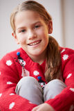 Portrait Of Girl Wearing Christmas Jumper Royalty Free Stock Photos