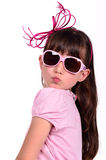 Portrait of girl wearing pink blowing a kiss Stock Photos