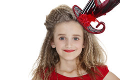 Portrait of girl wearing red lipstick and hat over white background Stock Photos