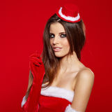 Portrait of a girl wearing santa claus clothes Stock Photography