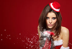 Portrait of a girl wearing santa claus clothes Stock Photo