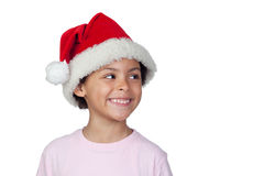 Portrait Of A Girl Wearing Santa Hat Stock Photography