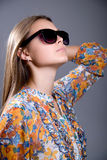 Portrait of a girl wearing sunglasses Stock Images