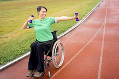 Disabled girl on a stadium Stock Photography