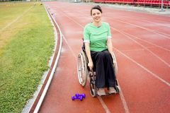 Disabled girl on a stadium Royalty Free Stock Photos