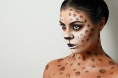 Portrait of a girl on a white background. body art. hairstyle. black hair. wild cat. facial profile. Drawing on the body. female emotions. creative make-up Royalty Free Stock Photos