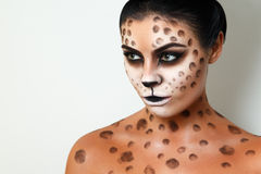Portrait of a girl on a white background. . face art. body art. hairstyle. black hair. wild cat. facial profile. Drawing on the body. female emotions. creative Royalty Free Stock Photos