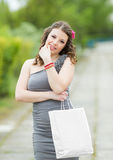Portrait of girl with white bag Royalty Free Stock Images
