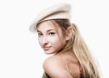 Portrait of a Girl with White Beret Royalty Free Stock Photography