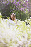 Portrait of a girl in a white bush Royalty Free Stock Photography