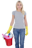 Portrait of the girl on white - concept Cleaning Stock Photography