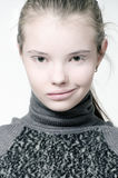 Portrait of a girl with white skin and white makeup. Portrait of a girl with white skin and white makeup on a white background Stock Photo