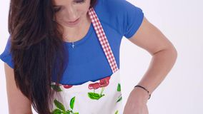 Portrait of girl who cutting vegetables on cutting board stock video