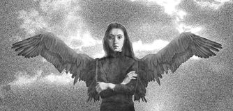 Portrait of a girl with wings dreaming of flying against the sky. Drawn in pencil Royalty Free Stock Images