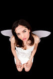 Portrait of girl with wings. Studio shoot photo. Royalty Free Stock Photo