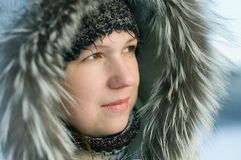 Portrait of the girl in winter Royalty Free Stock Photo