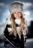 Portrait of the girl in the winter Royalty Free Stock Photos