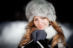 Portrait of the girl in the winter Stock Images