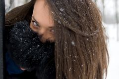 Portrait of girl in winter. Royalty Free Stock Image