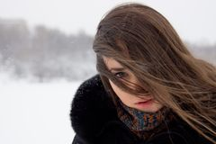 Portrait of girl in winter. Royalty Free Stock Photo
