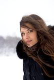 Portrait of girl in winter. Royalty Free Stock Photos