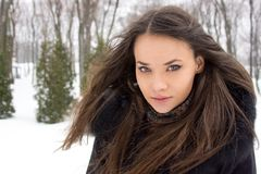 Portrait of girl in winter. Stock Photos
