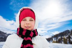 Portrait of girl in winter Stock Photos