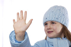 Portrait of the girl in winter clothes. Portrait of the girl in winter clothes on a white background Royalty Free Stock Photography