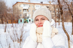 Portrait the girl in a winter down-padded coat Royalty Free Stock Photo