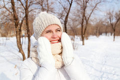 Portrait the girl in a winter down-padded coat Stock Photography