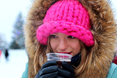 Portrait of a girl in the winter drink Royalty Free Stock Photography