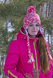 Portrait of a girl in winter forest Stock Photos