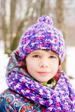 Portrait of girl in winter park Royalty Free Stock Photos