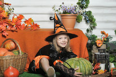 Portrait of girl in witch costume Royalty Free Stock Photo