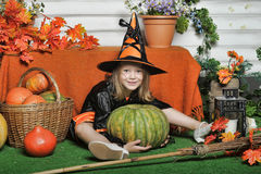 Portrait of girl in witch costume Stock Photography