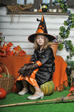 Portrait of girl in witch costume Royalty Free Stock Photos