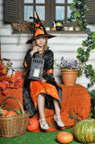 Portrait of girl in witch costume Royalty Free Stock Image