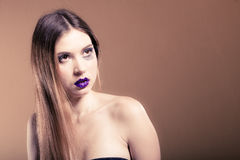 Portrait of girl woman with long straight hair and creative makeup Royalty Free Stock Images