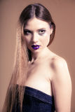 Portrait of girl woman with long straight hair and creative makeup Royalty Free Stock Photo