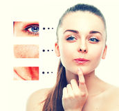 Portrait of girl woman with problem and clear skin,  youth concept Royalty Free Stock Photo