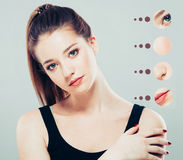 Portrait of girl woman with problem and clear skin, youth concept Royalty Free Stock Images