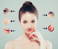 Portrait of girl woman with problem and clear skin, youth concept Royalty Free Stock Image