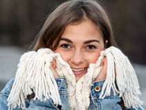 Portrait of a girl wrapped in a warm scarf Stock Photography