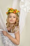 Portrait of a girl with a wreath. Of flowers studio royalty free stock photography