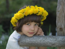 Portrait of the girl in a wreath from dandelions. At a fencing Royalty Free Stock Photography