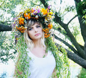 Portrait of a girl in a wreath Stock Photos