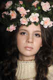 Portrait of a girl with a wreath of roses Royalty Free Stock Photos