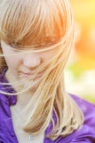 Portrait of girl in yellow dress Royalty Free Stock Photography